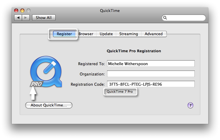 quicktime 7 pro key